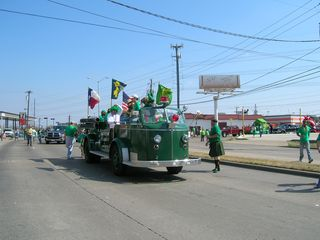 Green fire truck at the st pats parade