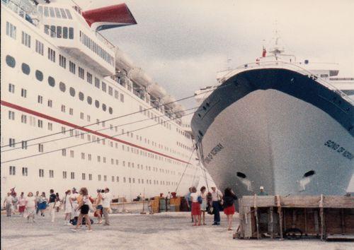 The ships waiting at dock